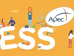 Illustration du mois de l'ESS avec le logo de l'APEC (des gens en action)
