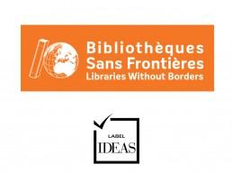 Image du logo de Bibliothèques sans Frontières et du logo du Label IDEAS