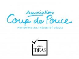 Image du logo de l'association Coup de pouce et du logo du Label IDEAS