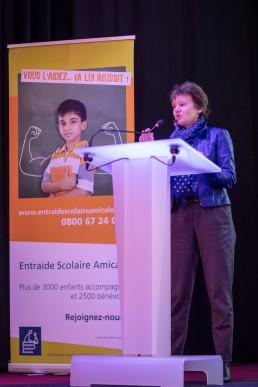 Isabelle Gougenheim, Présidente de l'Institut IDEAS, pendant son discours