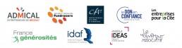 Logos des membres de la Coordination Générosités : Admical, Association Française des Fundraisers, Centre Français des Fonds et Fondations, Don en Confiance, France générosités, Les Entreprises pour la Cité, IDAF, IDEAS et Mouvement associatif.