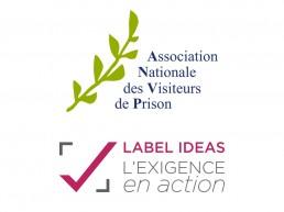 Logo de l'Association Nationale des Visiteurs de Prison et logo du Label IDEAS