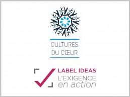Logo de Cultures du Coeur et logo du LABEL IDEAS