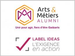 logo Société des ingénieurs Arts et Métiers et logo du Label IDEAS